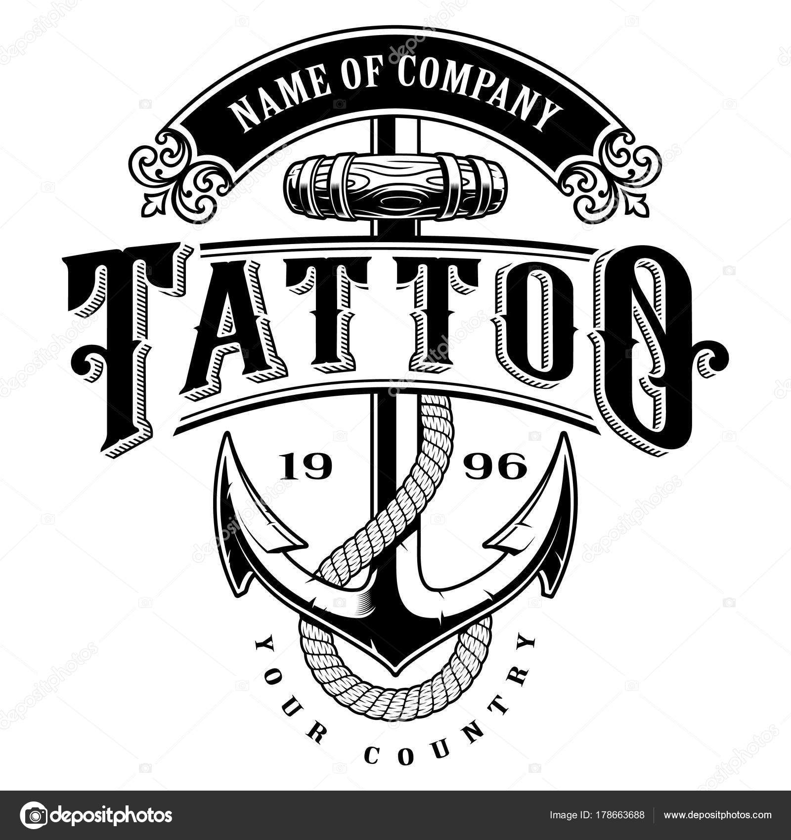 Tattoo Lettering Illustration With Anchor Logo Template Design Shirt Graphic Text Is On The Separate Layer VERSION FOR WHITE BACKGROUND Vector By