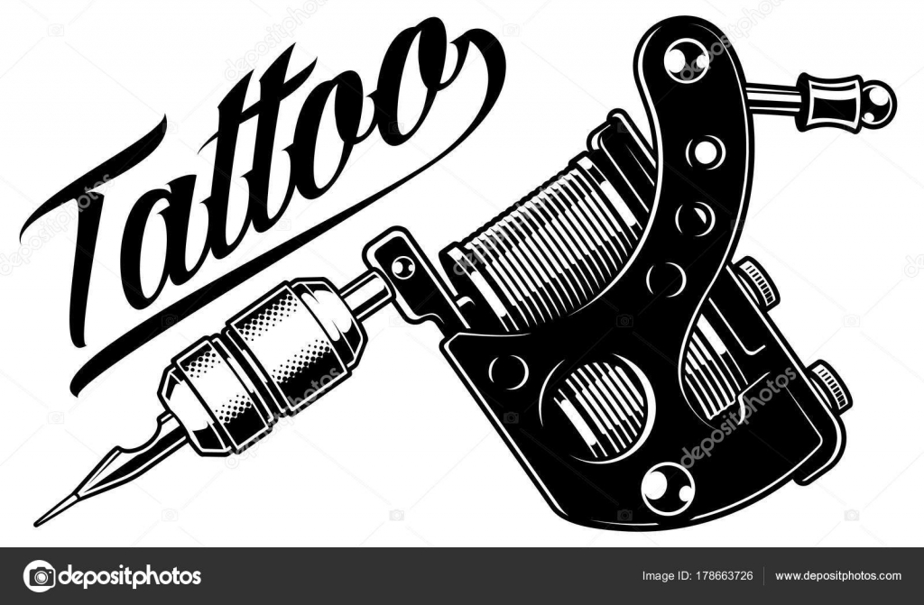 Tattoo machine monochrome stock vector kasyanov for How to put ink in a tattoo gun