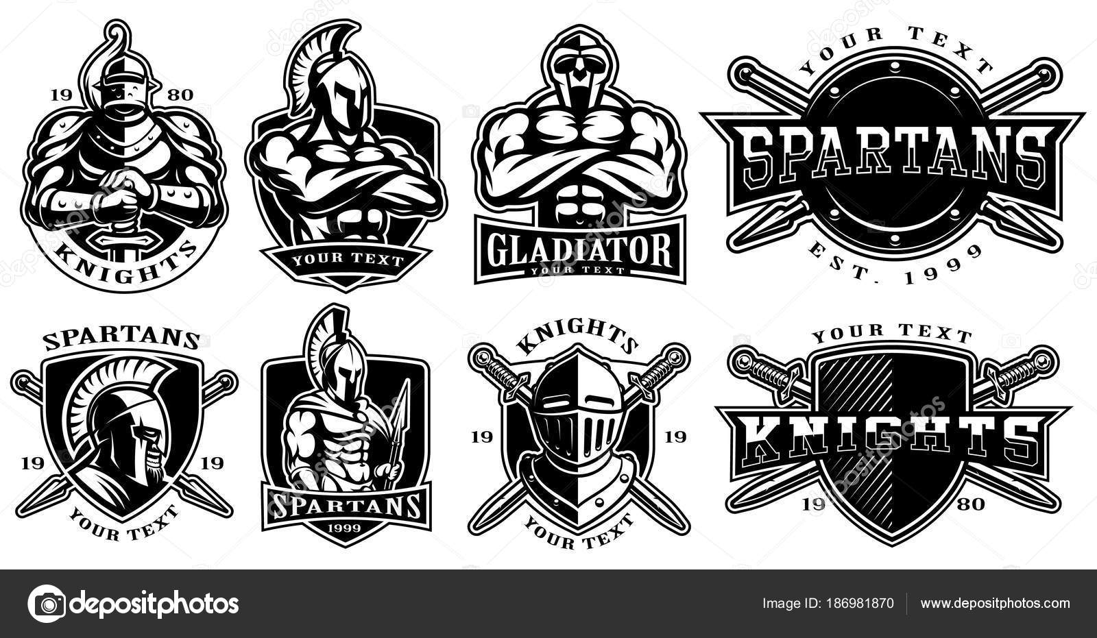 Set of badges with ancient warriors (for white background