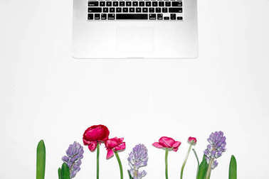 Laptop and composition of flowers on white background. Flat lay, top view, copy space, mock up. Feminine workspace stock vector
