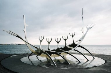 Reykjavik, Iceland-May 5 2018: a modern sculpture Solar (The Sun Voyager) in the bay by Jn Gunnar rnason