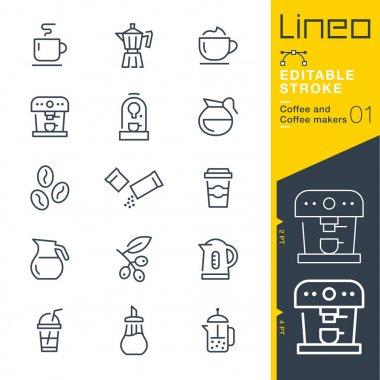 Lineo Editable Stroke - Coffee line icons