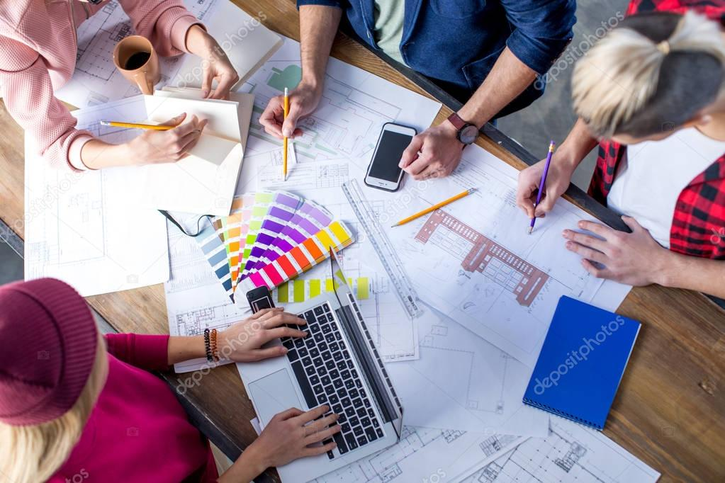 Designers working at project