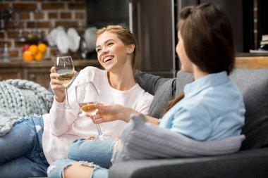 Friends drinking white wine