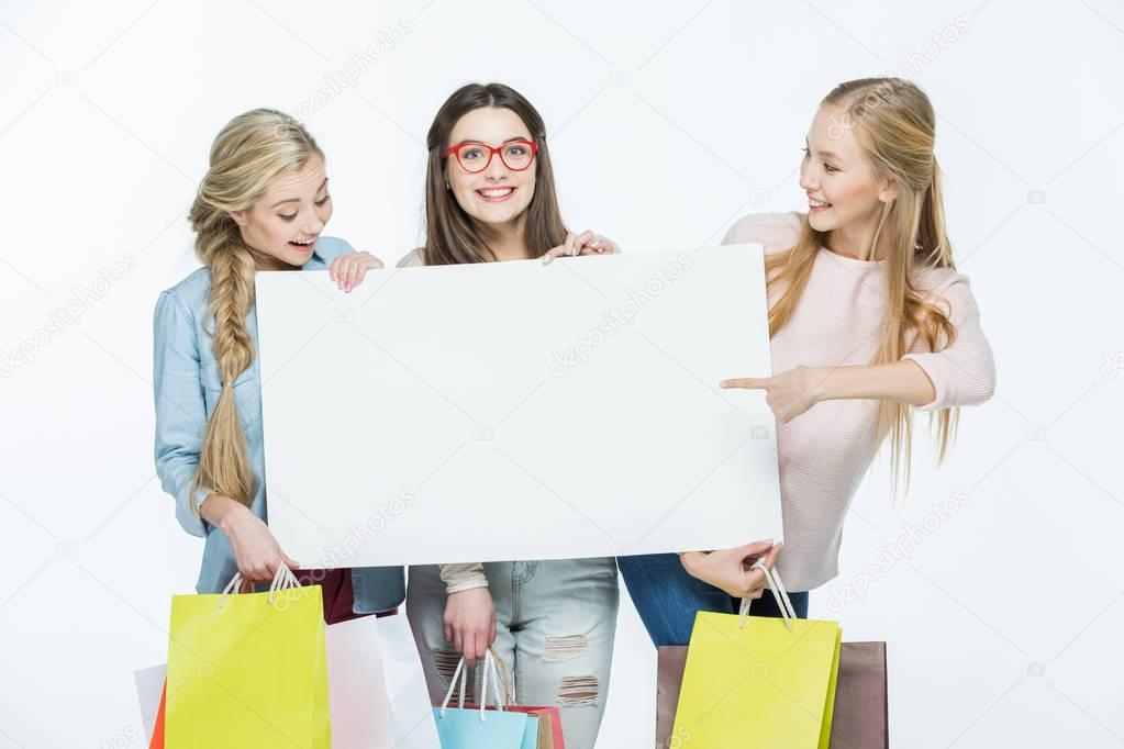 Women holding blank card