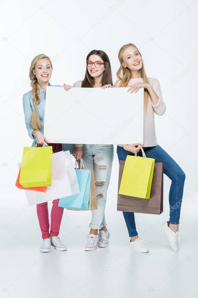 Women holding blank card
