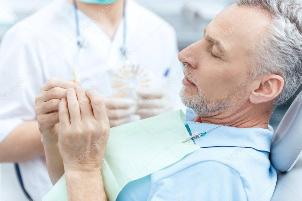 Mature patient at dentist