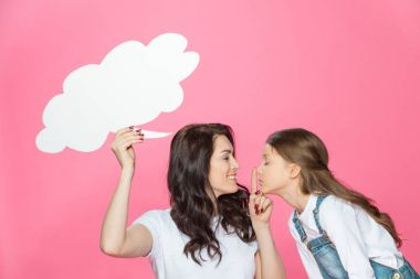 Mother and daughter with speech bubble