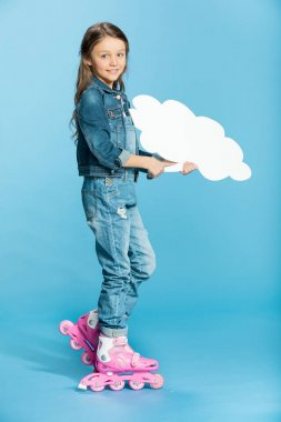 girl in roller skates with speech bubble