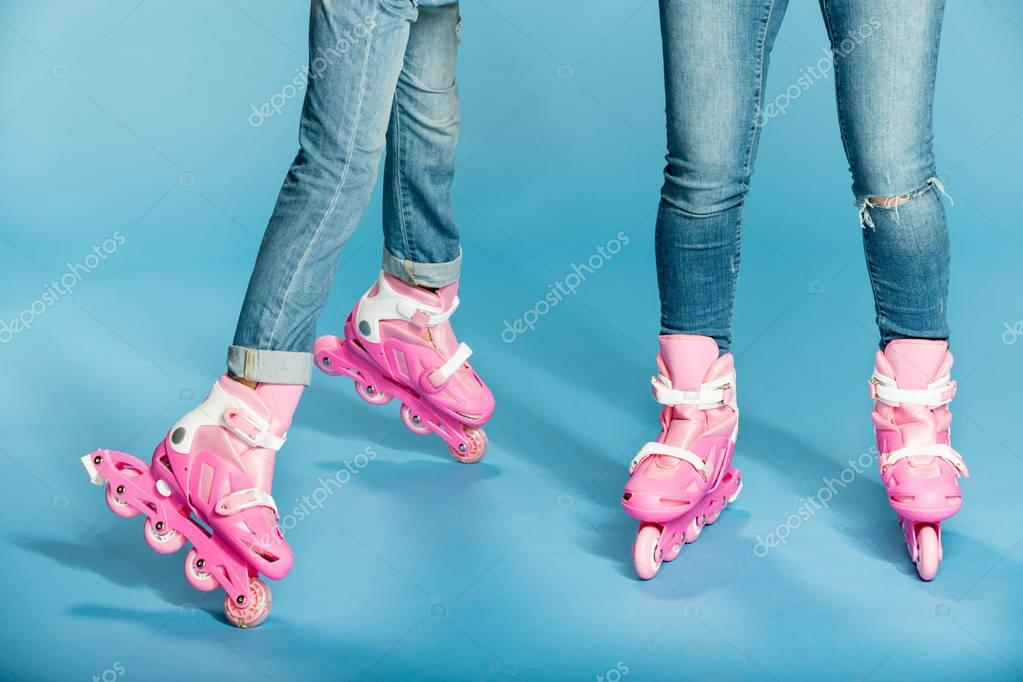 mother and daughter in roller skates
