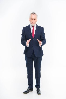 Handsome mature businessman in suit gesturing and looking at camera isolated on white stock vector