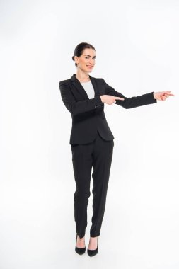 Businesswoman pointing with fingers