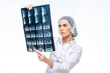 Female doctor in medical uniform holding and examining x-ray image isolated on white stock vector