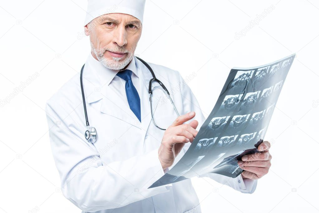 Doctor holding x-ray image