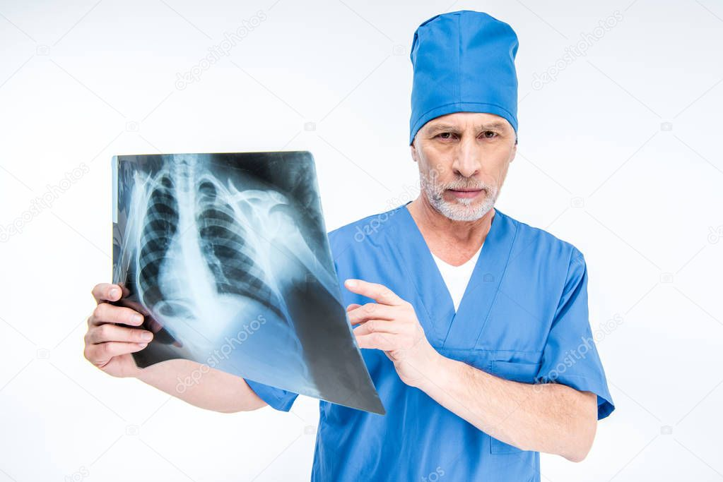 Doctor with x-ray image