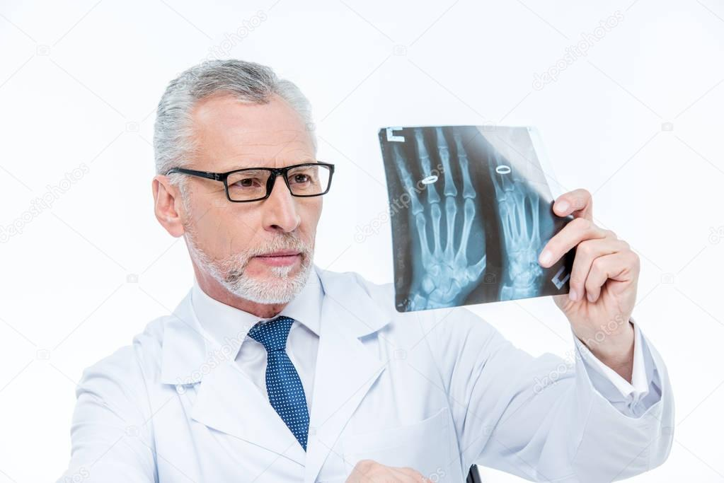 Doctor examining x-ray image