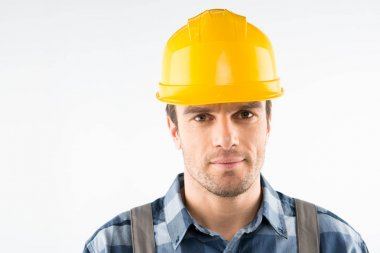 Construction worker in helmet