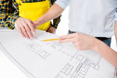Partial view of architects examining blueprint together isolated on white stock vector