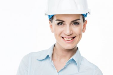 Female architect in hard hat