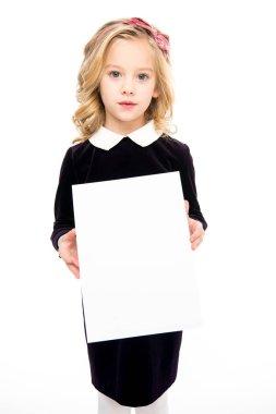 Girl holding blank card