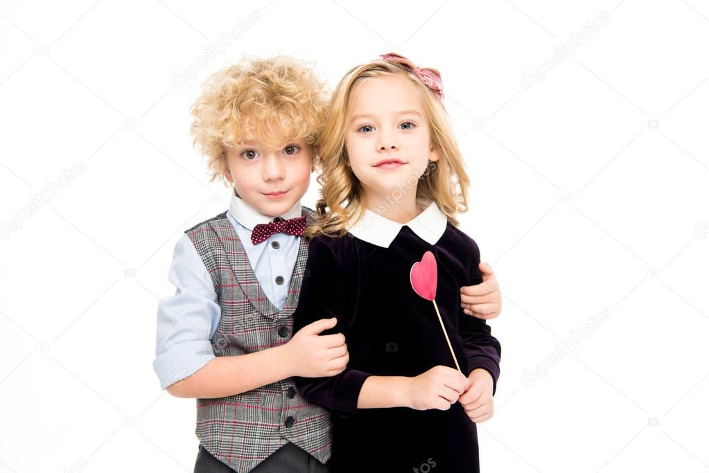 Kids holding red heart