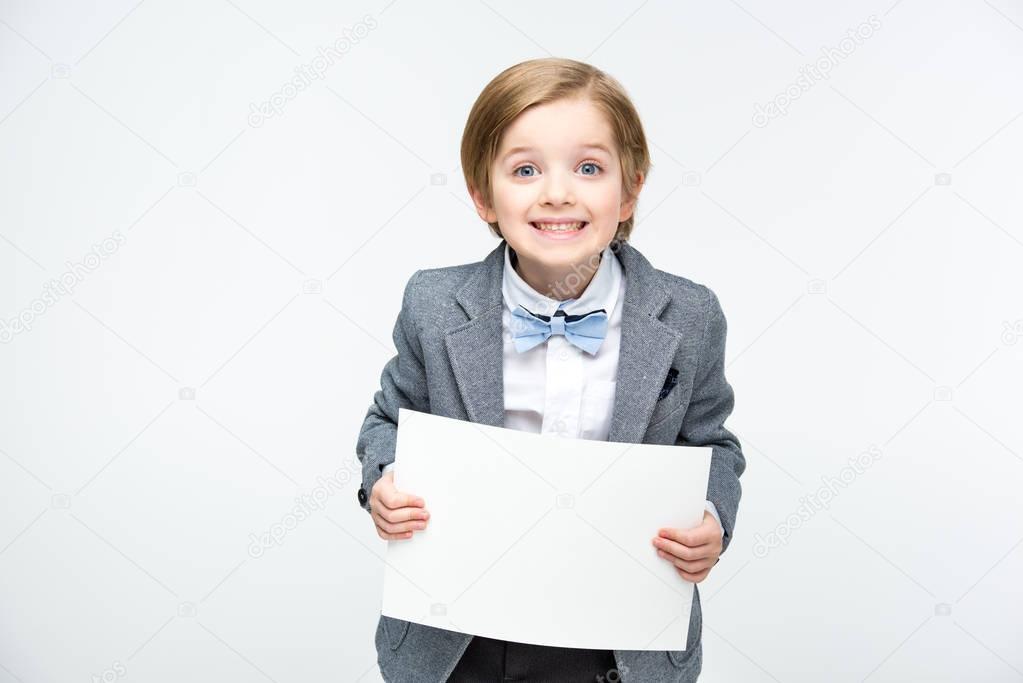 Boy with blank card