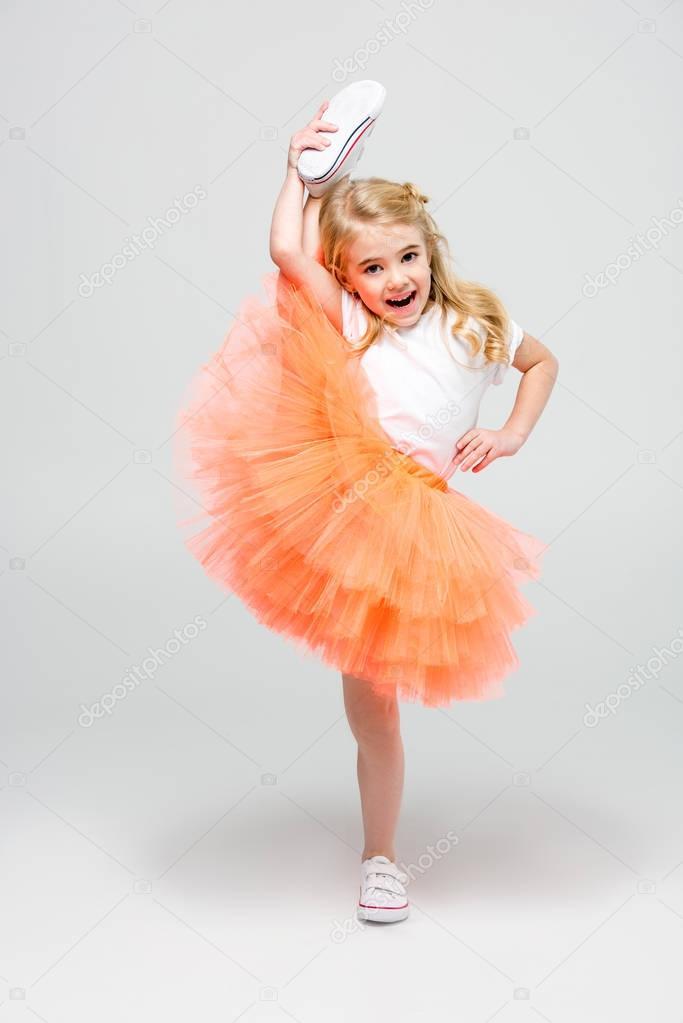 Girl making stretching trick