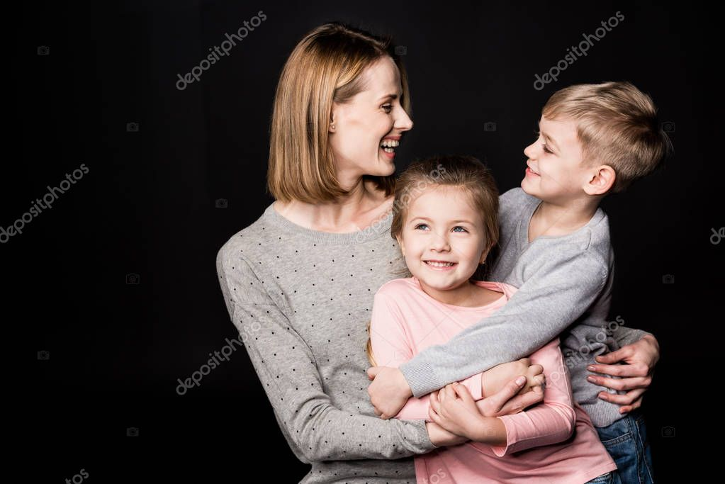 Happy mother with kids