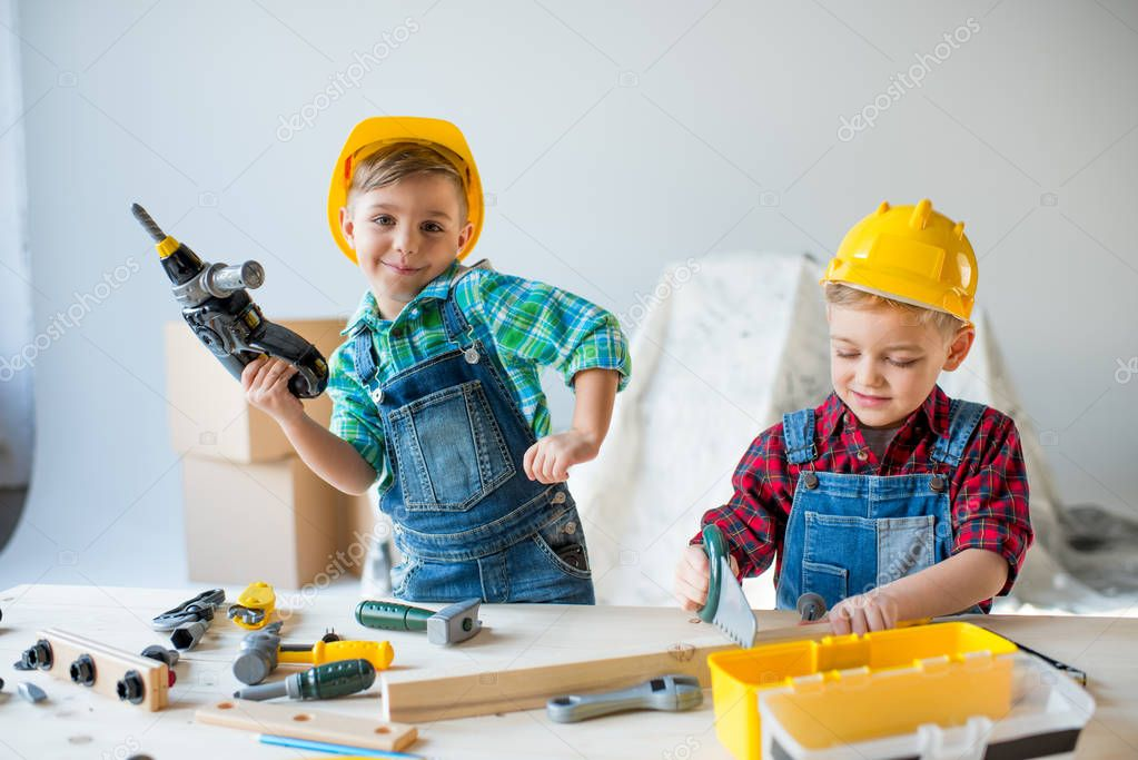Little boys with tools