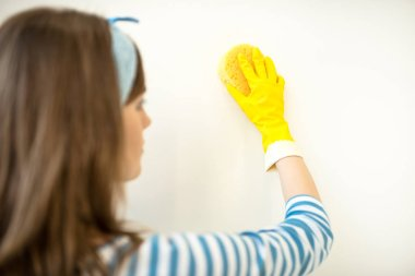 Woman cleaning wall