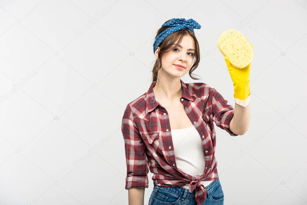 Young woman with sponge