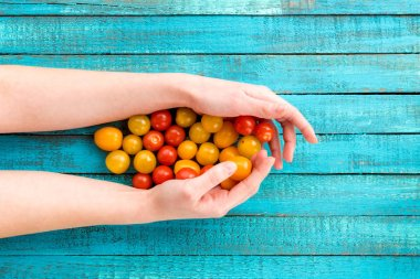 hands holding cherry-tomatoes