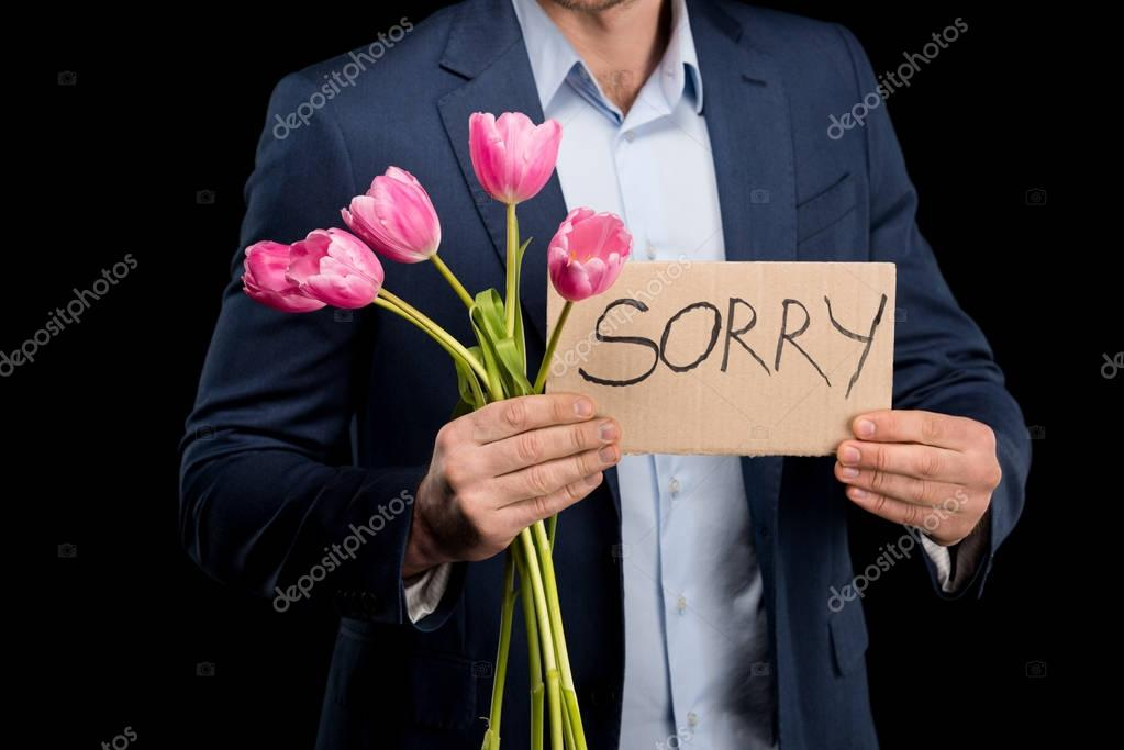 man with tulips bouquet