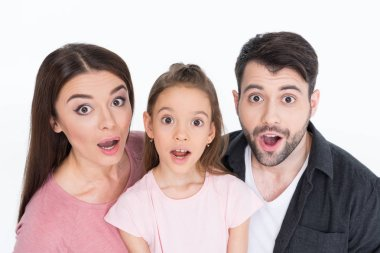 Surprised young family