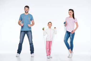 family with jump ropes