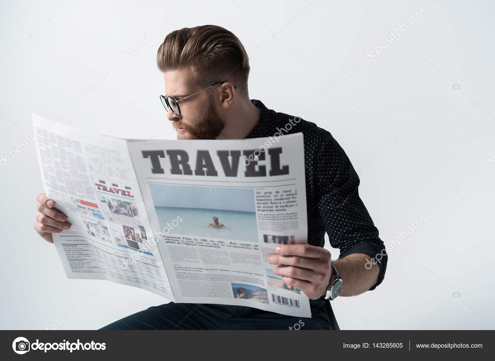stylish man reading newspaper — stock photo © igortishenko #143285605