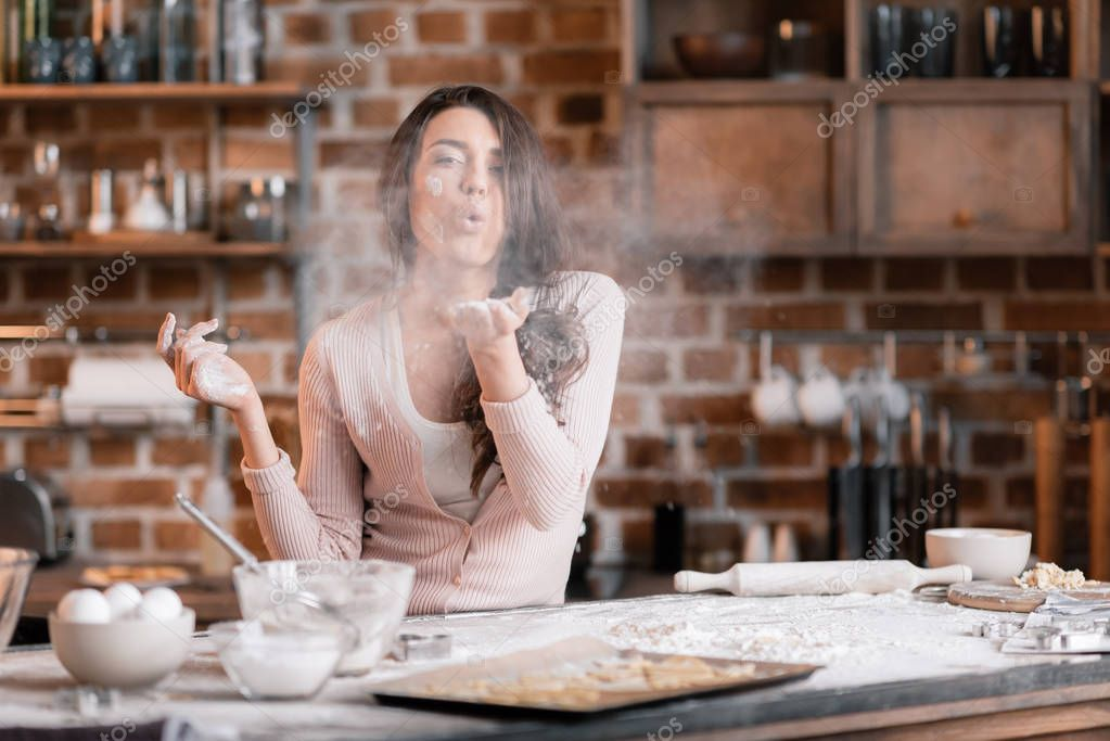 Young woman in flour
