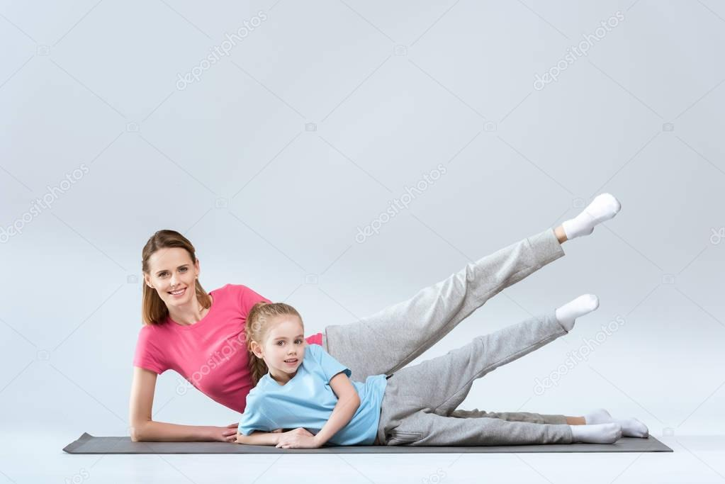 sporty mother and daughter