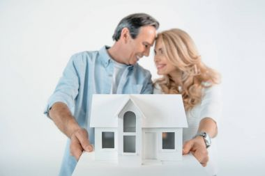 Portrait of smiling mature couple showing house model  isolated on white stock vector