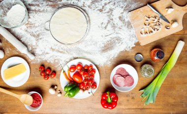 top view of pizza ingredients