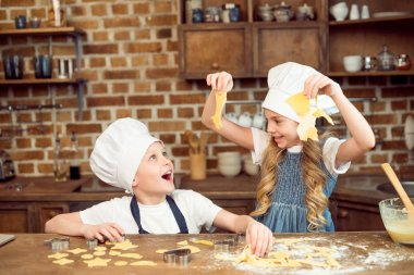 kids playing with dough