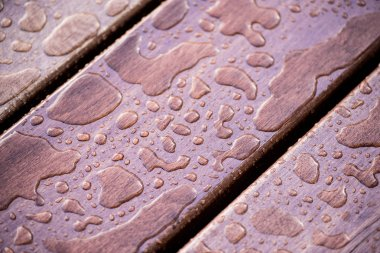 Drops on wooden planks