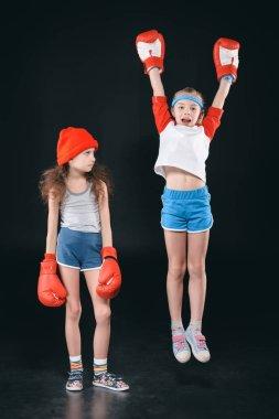 girls in boxing gloves
