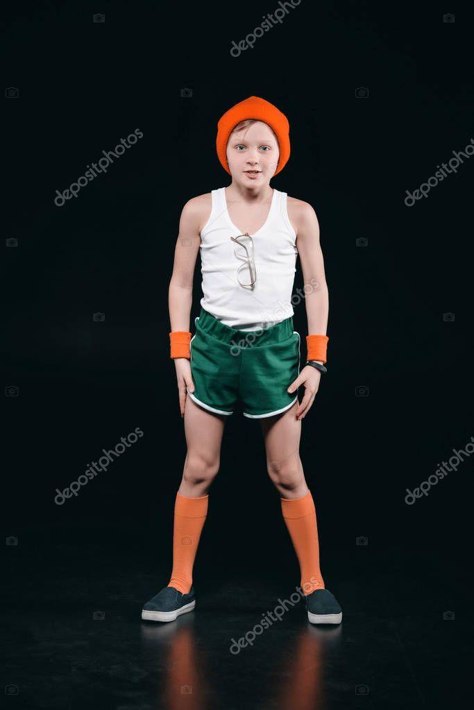 Sporty boy exercising