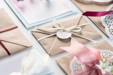 collection of envelopes or invitations