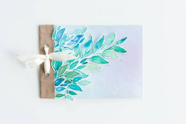 watercolor invitation with leaves
