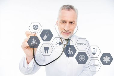 doctor with stethoscope and medical care icons