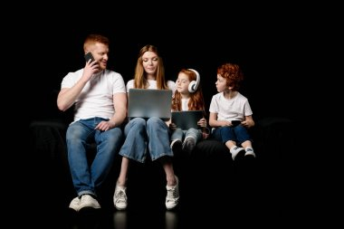 Family using digital devices