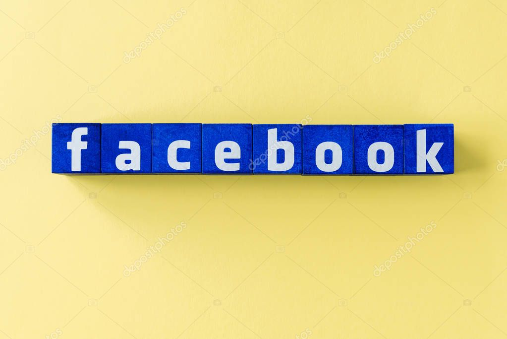 Word Facebook made from blue cubes