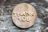 Photo lettering thank you made from dough